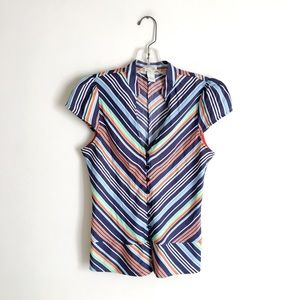 Anthropologie | Odille Chevron Peplum Belted Top